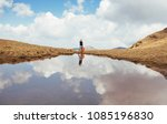 hiker drinking water. hiking... | Shutterstock . vector #1085196830