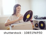 young woman enjoy music and... | Shutterstock . vector #1085196950