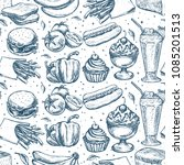 simply food seamless pattern.... | Shutterstock .eps vector #1085201513