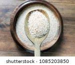 closeup of psyllium husk or... | Shutterstock . vector #1085203850