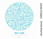 help and care concept in circle ... | Shutterstock .eps vector #1085214029