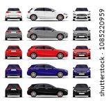 realistic car set. hatchback.... | Shutterstock .eps vector #1085220959
