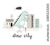 cartoon city with dinosaur... | Shutterstock .eps vector #1085223203