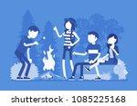 campfire outdoor fun. happy... | Shutterstock .eps vector #1085225168