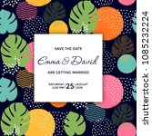 save the date card   tropical... | Shutterstock .eps vector #1085232224