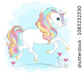 white unicorn with rainbow hair ... | Shutterstock .eps vector #1085232530