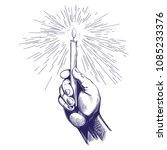 hand holds burning candle... | Shutterstock .eps vector #1085233376