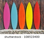 colored surfboards leaning up... | Shutterstock . vector #108523400
