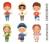 funny cartoon children... | Shutterstock .eps vector #1085238443