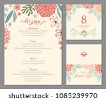 wedding menu  table number and... | Shutterstock .eps vector #1085239970