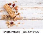 Stock photo top view of various healthy granola bars muesli or cereal bars set of energy sport breakfast 1085241929