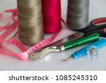 sewing materials are colorful... | Shutterstock . vector #1085245310