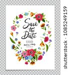 save the date card with flower... | Shutterstock .eps vector #1085249159