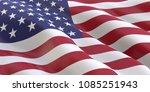 american flag waving 3d... | Shutterstock . vector #1085251943