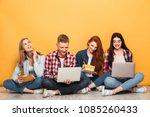 group of young happy school... | Shutterstock . vector #1085260433