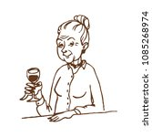 old lady with glass of wine... | Shutterstock .eps vector #1085268974