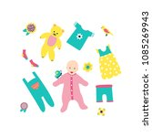 set of a baby  baby clothes  a... | Shutterstock .eps vector #1085269943