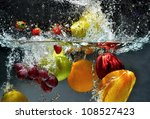splashing fruit on water. fresh ... | Shutterstock . vector #108527423