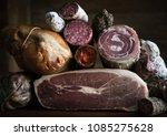 closeup of charcuterie meat... | Shutterstock . vector #1085275628
