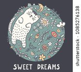 sweet dreams card with a cute... | Shutterstock .eps vector #1085276138