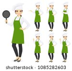 woman chef set in different... | Shutterstock .eps vector #1085282603