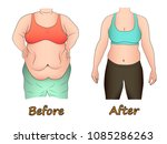 abdominal fat of a woman before ... | Shutterstock .eps vector #1085286263