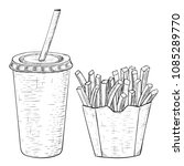 french fries and a drink in... | Shutterstock . vector #1085289770
