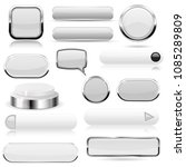 white buttons. glass icons and... | Shutterstock . vector #1085289809