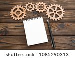 gear  notepad on a spiral ... | Shutterstock . vector #1085290313
