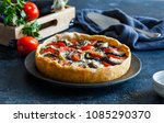 pie with brie eggplants and... | Shutterstock . vector #1085290370
