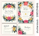 vector set of invitation cards... | Shutterstock .eps vector #1085294846