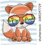 cool cartoon cute fox with sun... | Shutterstock .eps vector #1085297729