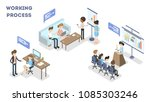 working process set. business... | Shutterstock .eps vector #1085303246