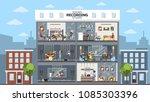 sound recording studio city... | Shutterstock .eps vector #1085303396