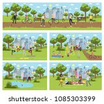 public park in the city with... | Shutterstock .eps vector #1085303399