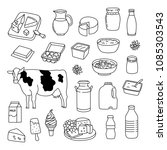 dairy products hand drawn... | Shutterstock .eps vector #1085303543