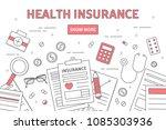 health insurance line... | Shutterstock .eps vector #1085303936