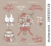 set of wedding related sketches ... | Shutterstock .eps vector #1085305118