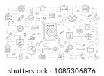 audit icons set. line icons on... | Shutterstock .eps vector #1085306876