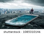 man fishing in the smartphone... | Shutterstock . vector #1085310146