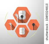 set of electric outlet and plug ...   Shutterstock . vector #1085324813