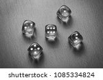 five red dice on the table.... | Shutterstock . vector #1085334824