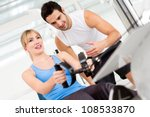 gym woman exercising with her... | Shutterstock . vector #108533870
