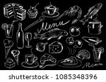 menu illustration on chalkboard | Shutterstock .eps vector #1085348396