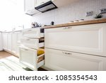modern kitchen cabinets with... | Shutterstock . vector #1085354543