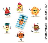 fruit characters at summer... | Shutterstock .eps vector #1085358464
