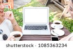blank screen of laptop used by... | Shutterstock . vector #1085363234