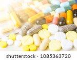 medicine pills or capsules on... | Shutterstock . vector #1085363720