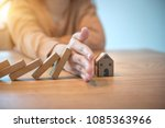 woman hand stopping risk the...   Shutterstock . vector #1085363966