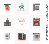 modern flat icons set of school ...
